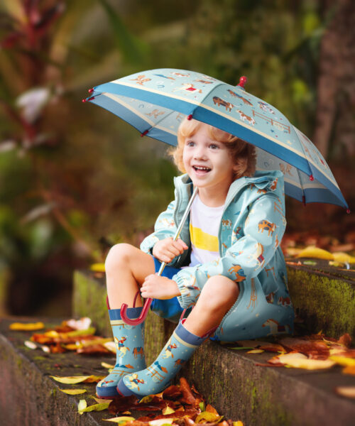 Child playing in autumn rain. Kid with umbrella. Little boy running in a park in fall season. Outdoor fun for kids by any weather. Rain waterproof wear, boots and jacket for children.